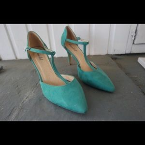 Teal suede t-strap heels from ModCloth.